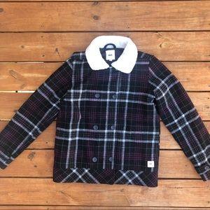 VANS Black Plaid Coat